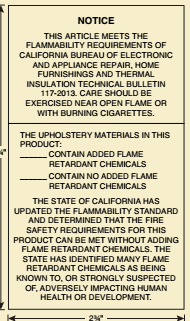 flammability-tag CAlifornia